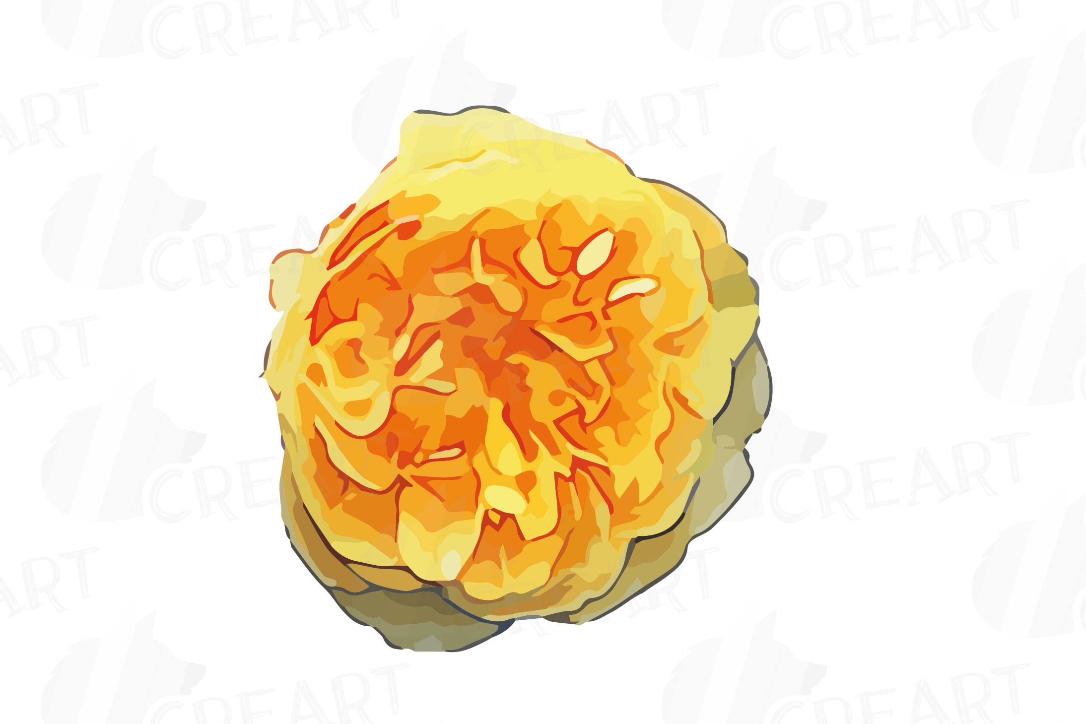 Watercolor yellow flowers and green leaves clip art pack example image 9