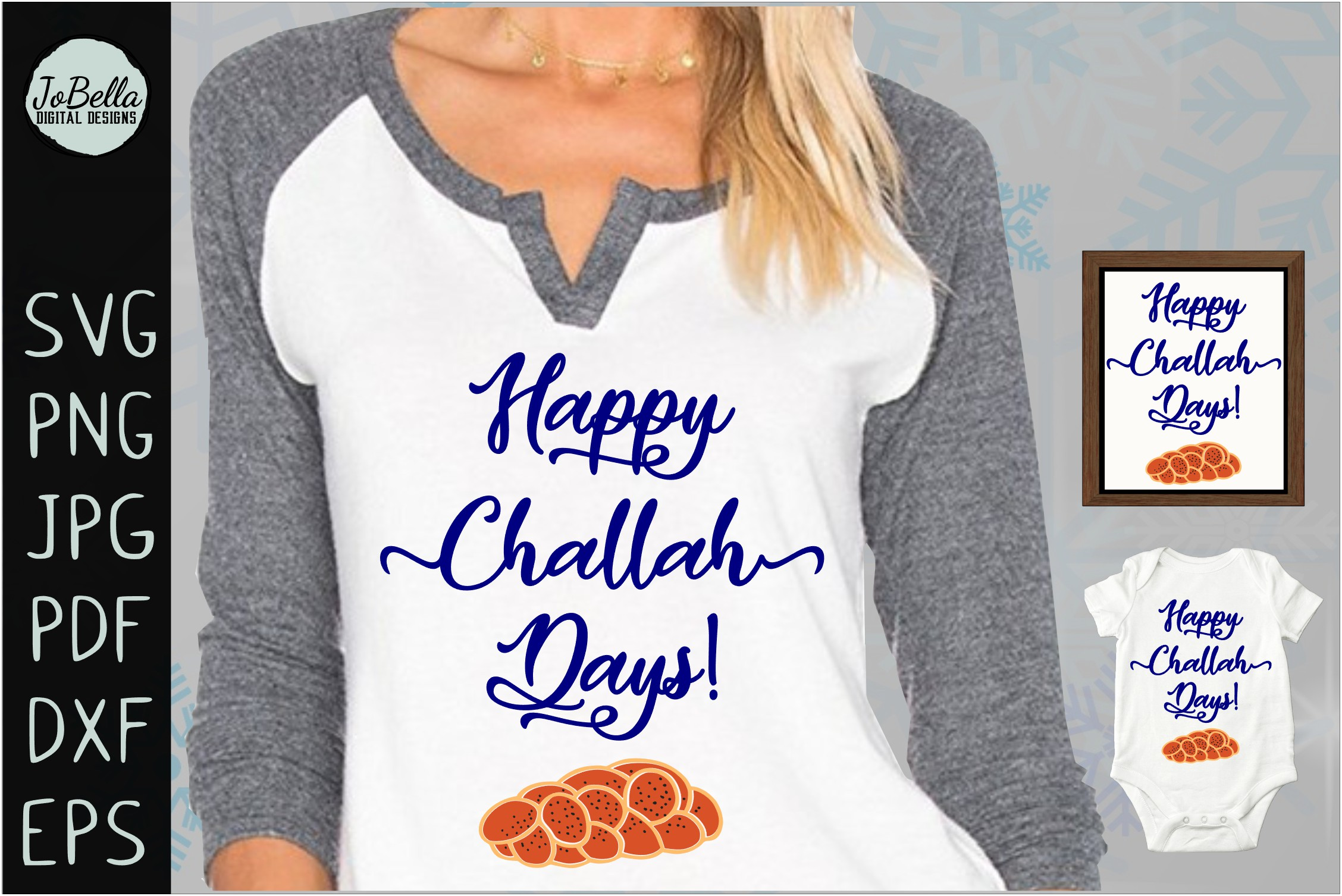 Challah Happy Hanukkah SVG, Printable and Sublimation PNG example image 1