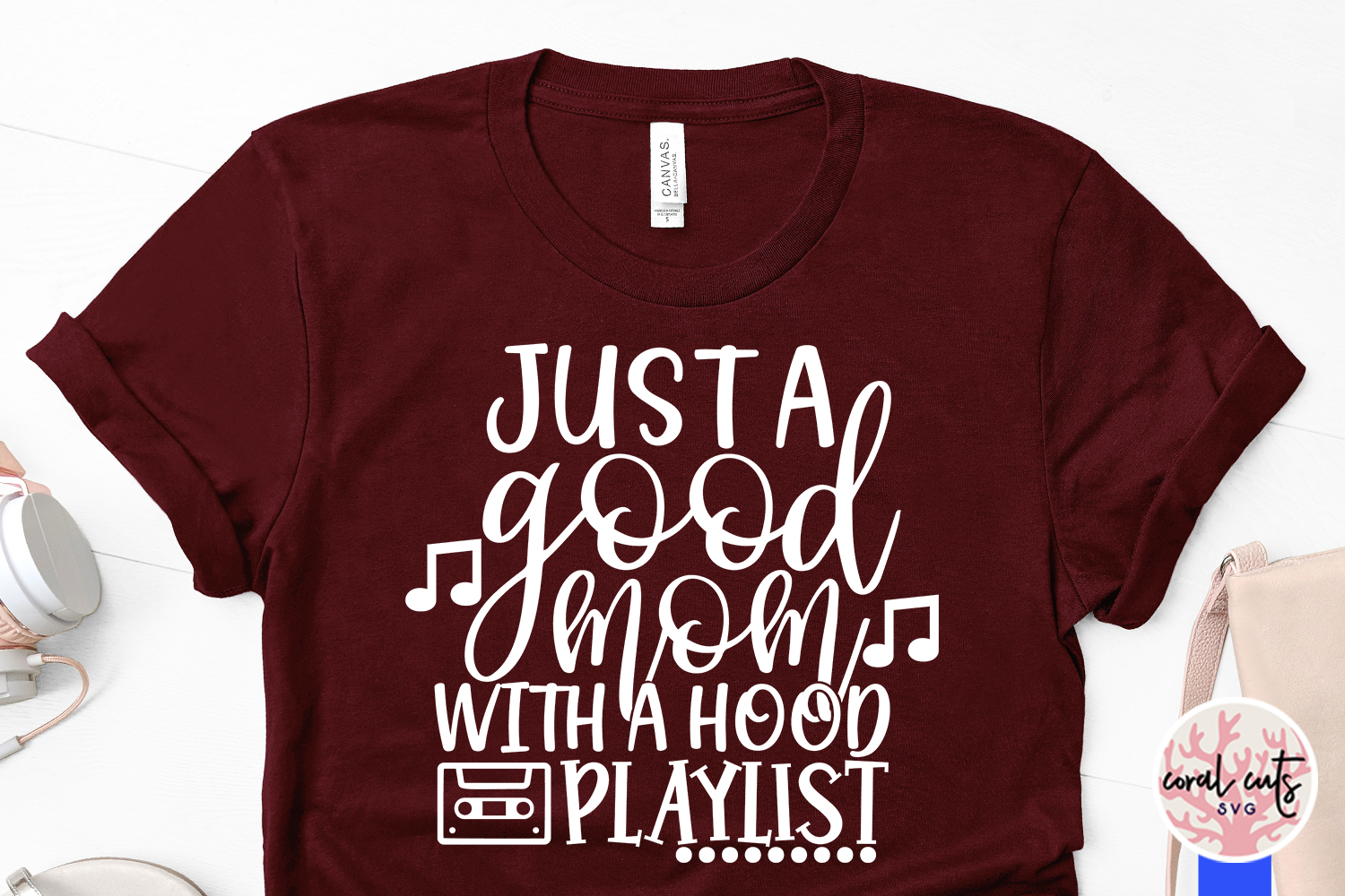 Just a good mom with the hood playlist - Mother SVG EPS DXF example image 3
