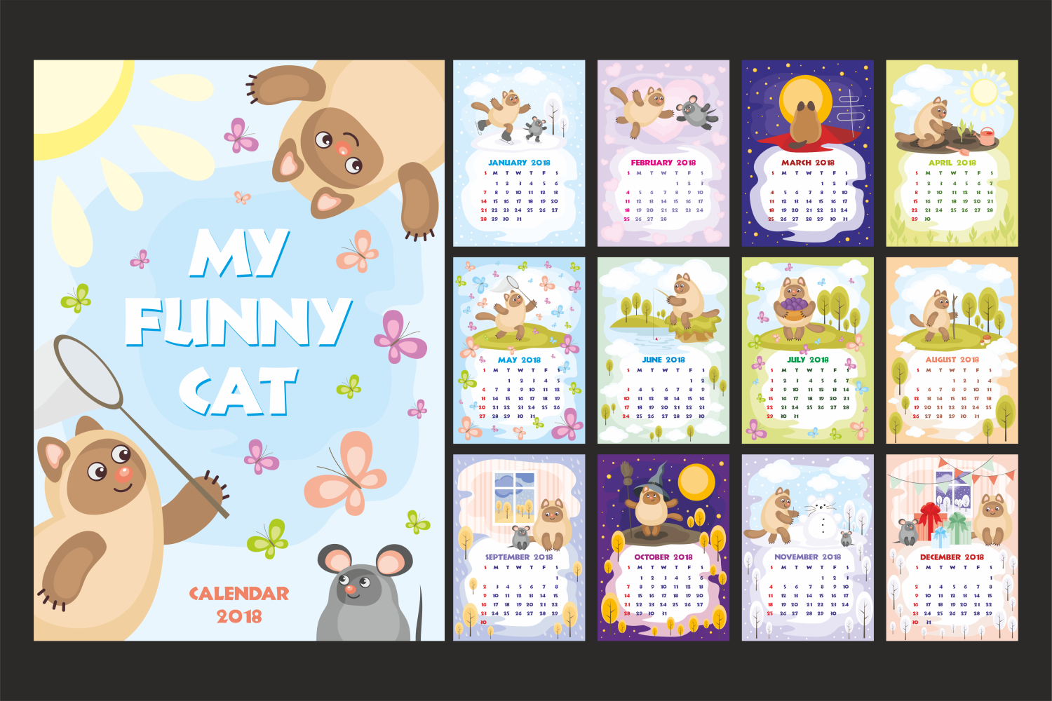 My funny cat. Wall calendar 2018. example image 1