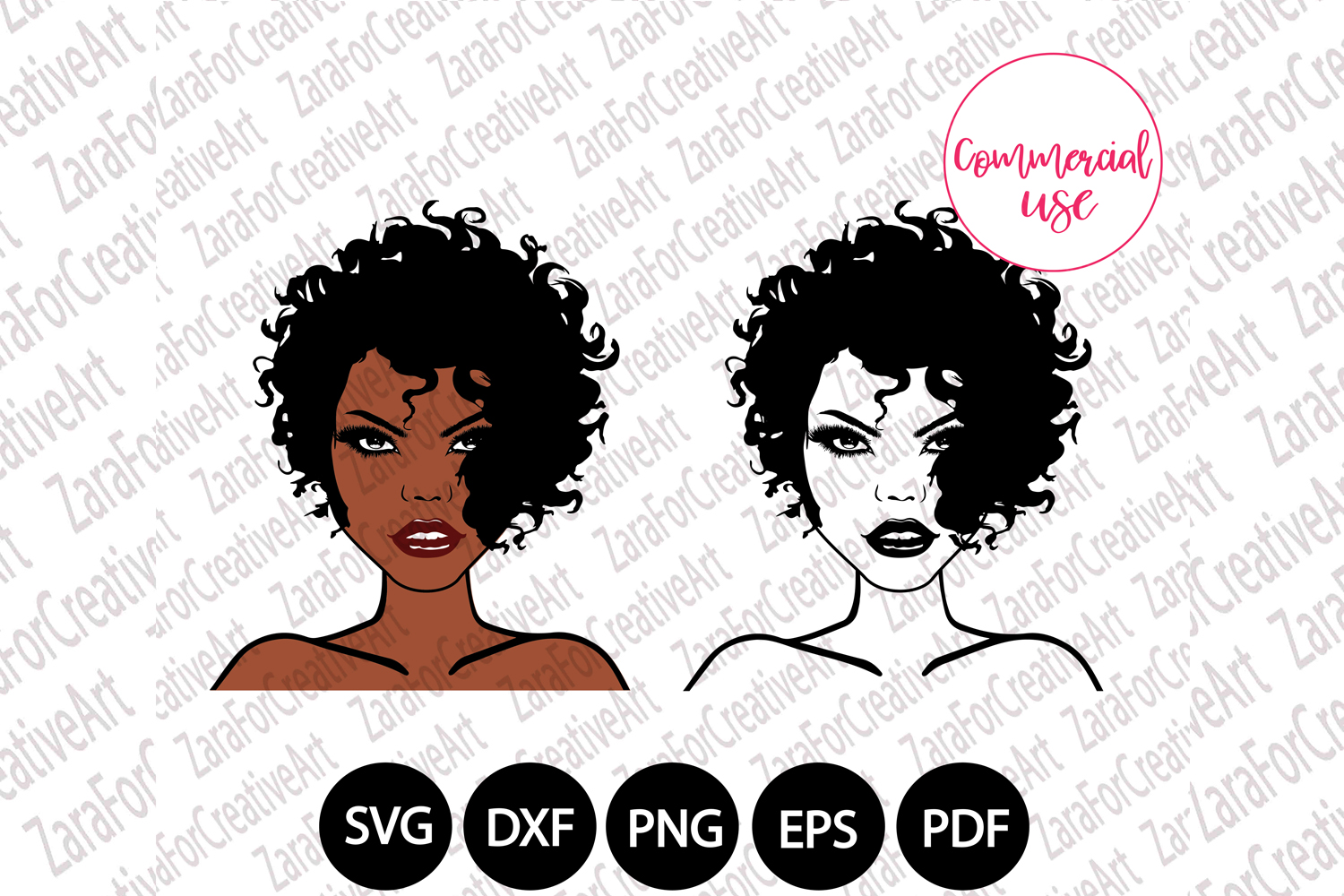 African American woman SVG example image 1