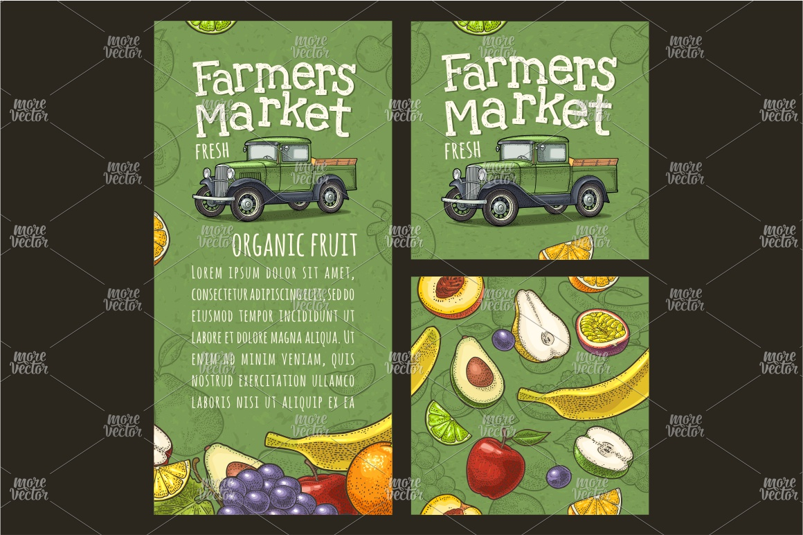 Farmers market. Set vegetables and fruits. Vector engraving example image 7