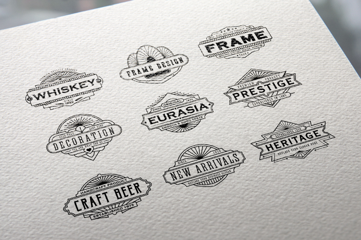 30 Line Art Badge & Frame Label example image 9