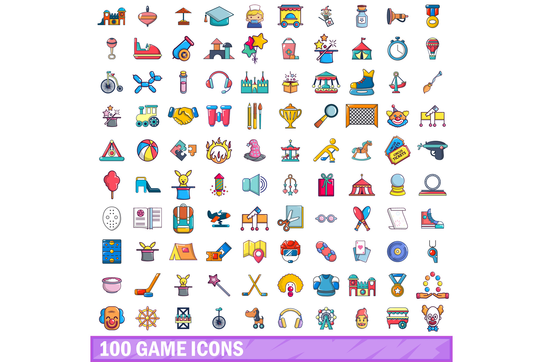 100 game icons set, cartoon style example image 1