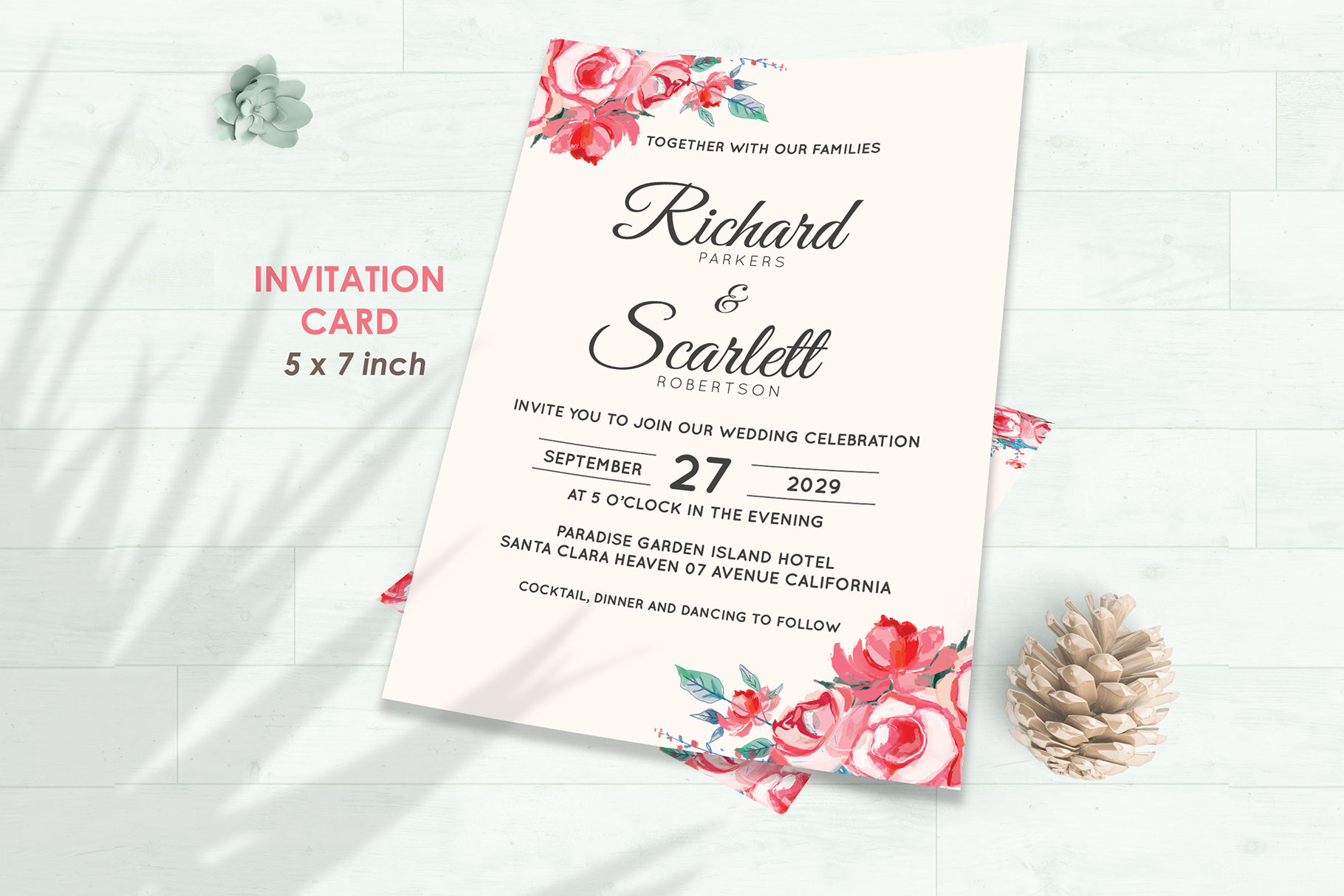 Wedding Invitation Set #11 Watercolor Floral Flower Style example image 2