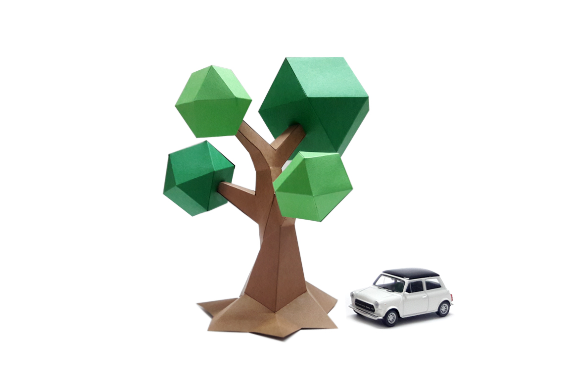 DIY Lowpoly Tree - 3d papercraft example image 1