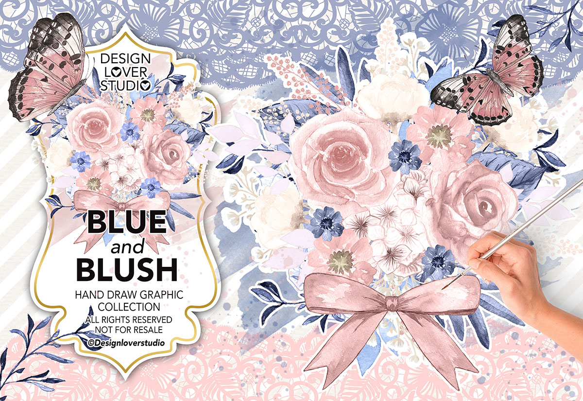 Watercolor BLUE and BLUSH design example image 1