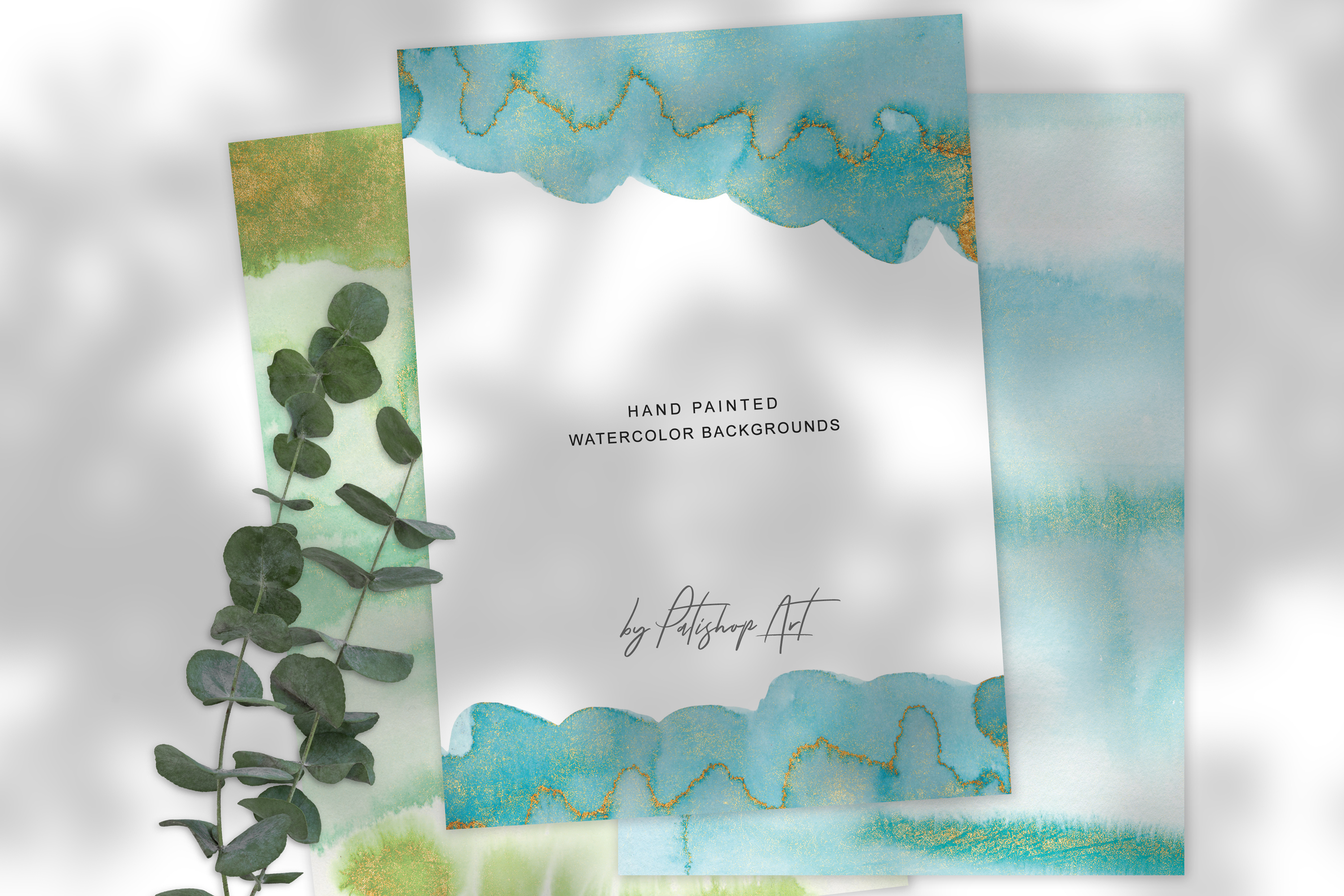 Watercolor Glittered Green & Turquoise Background 5x7 example image 5