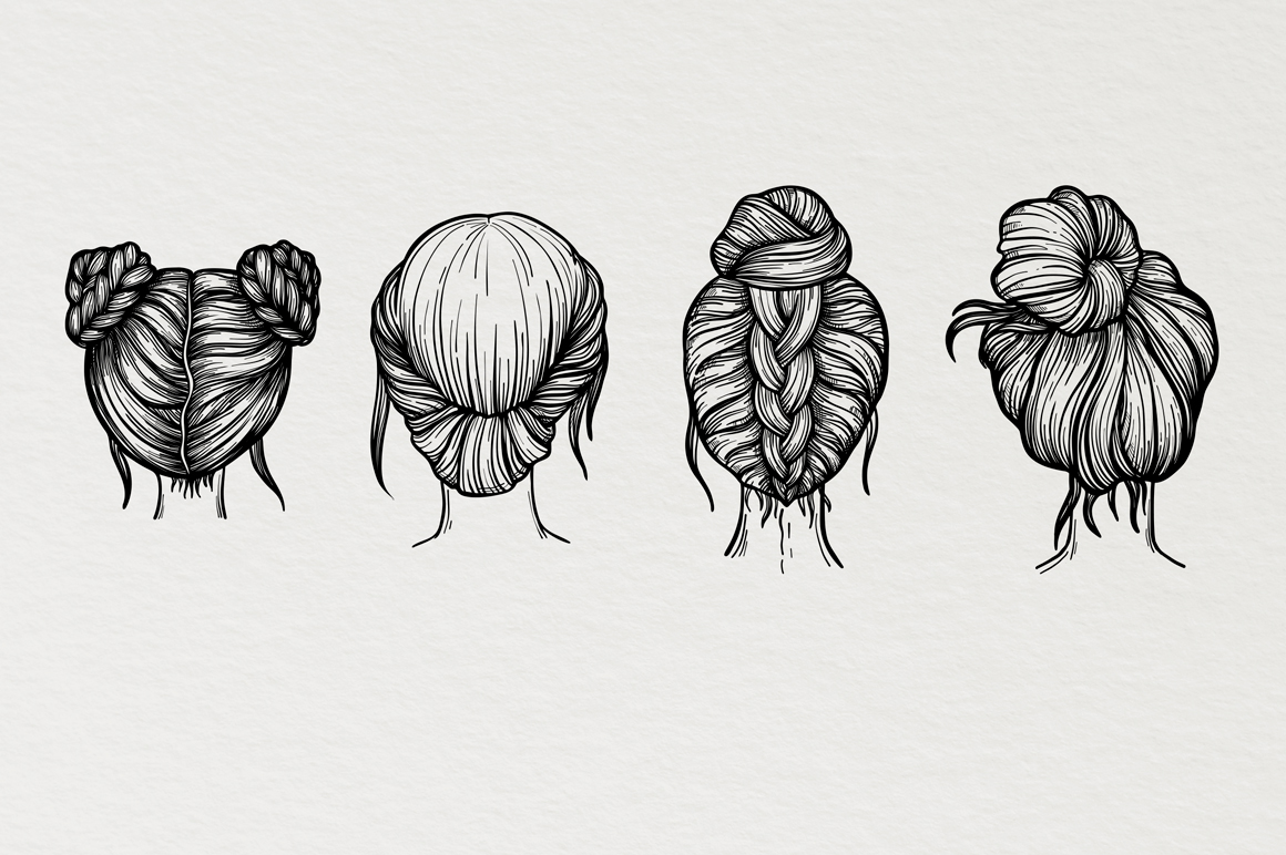 Clipart Of Hairstyle Hand Drawn Illustrations In Sketch