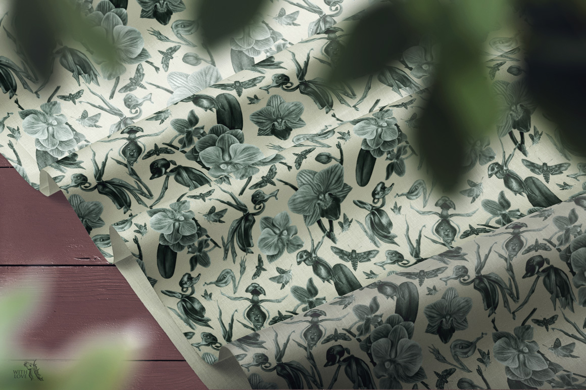 Forest Botanical Watercolor Patterns example image 7