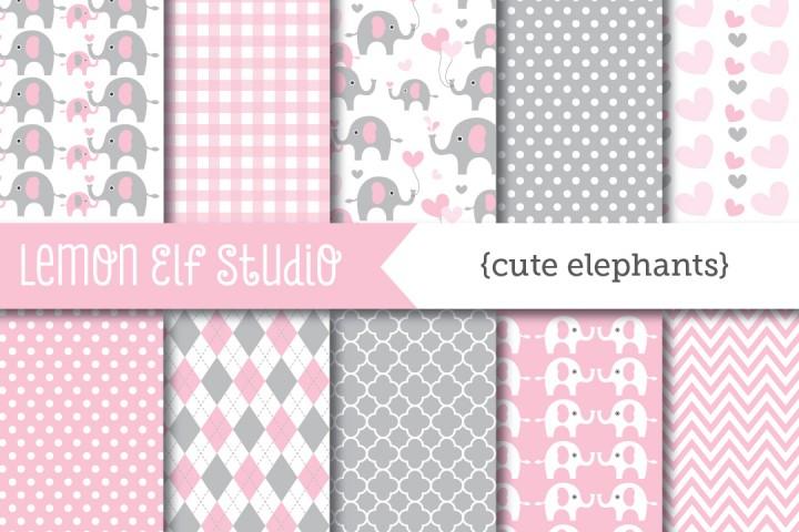 Cute Elephants-Digital Paper (LES.DP10B) example image 1