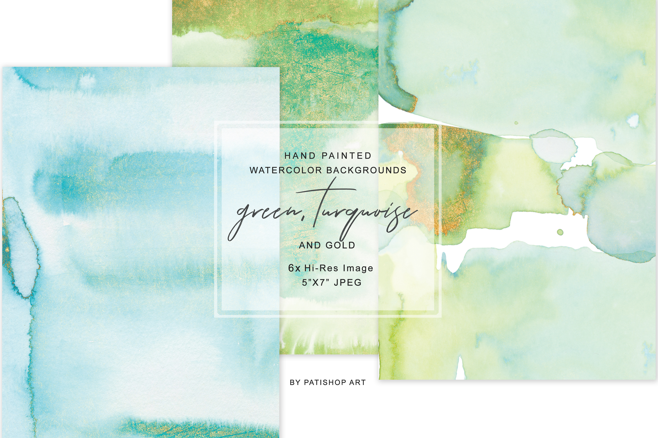 Watercolor Glittered Green & Turquoise Background 5x7 example image 4