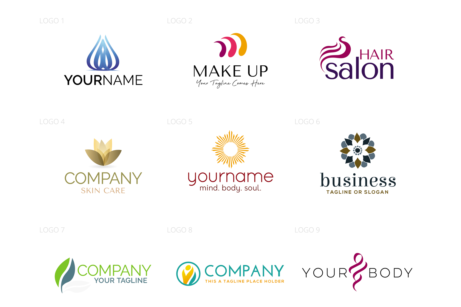 Beauty & Wellness Logo Design Set example image 2