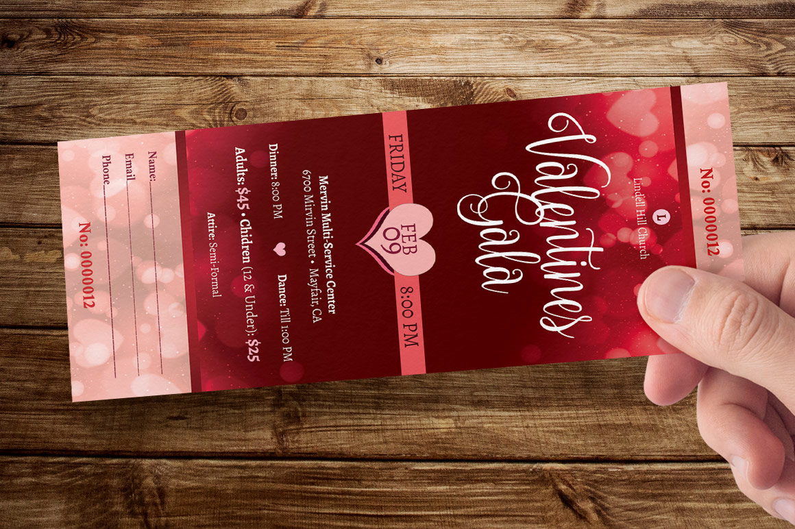Red Hearts Valentines Gala Ticket Template example image 8