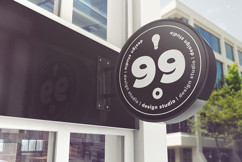 Building Advertising Round Sign Mockup example image 2