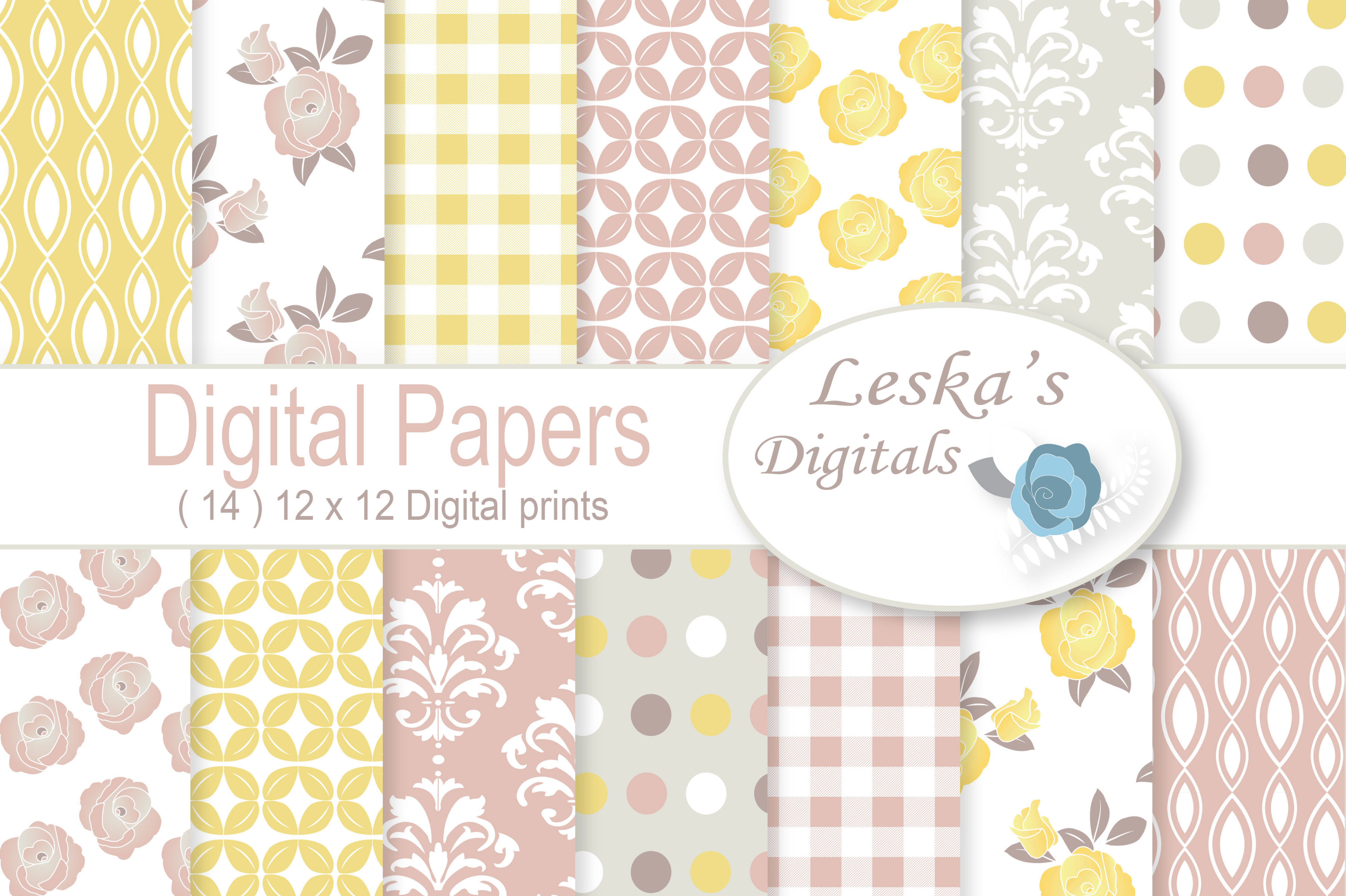 Floral Shabby Chic Digital Paper example image 1