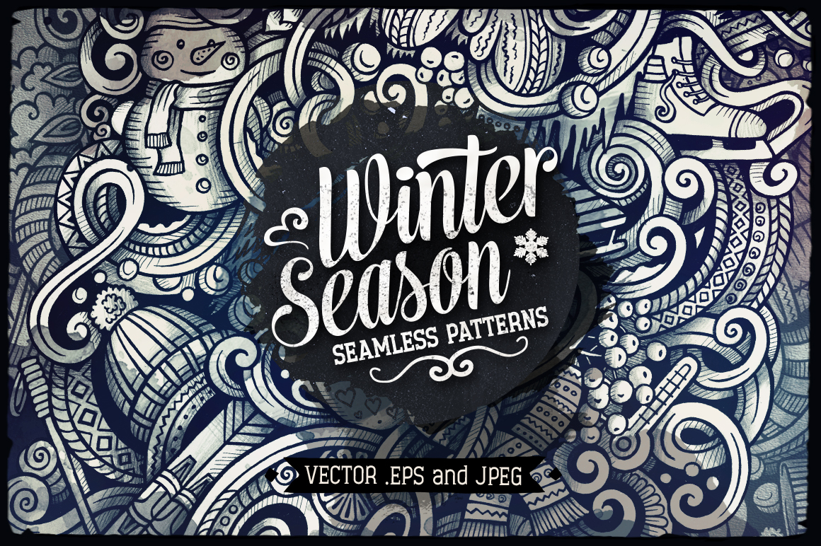 Winter Graphic Doodles Patterns example image 1