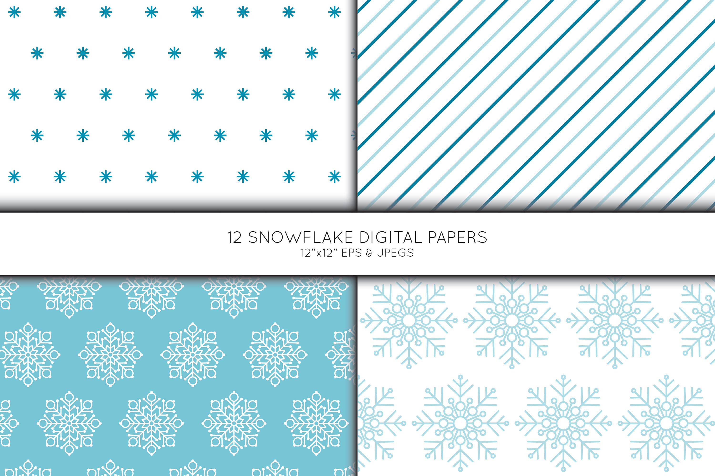 Snowflake Digital Paper, Snowflake Scrapbook paper example image 2