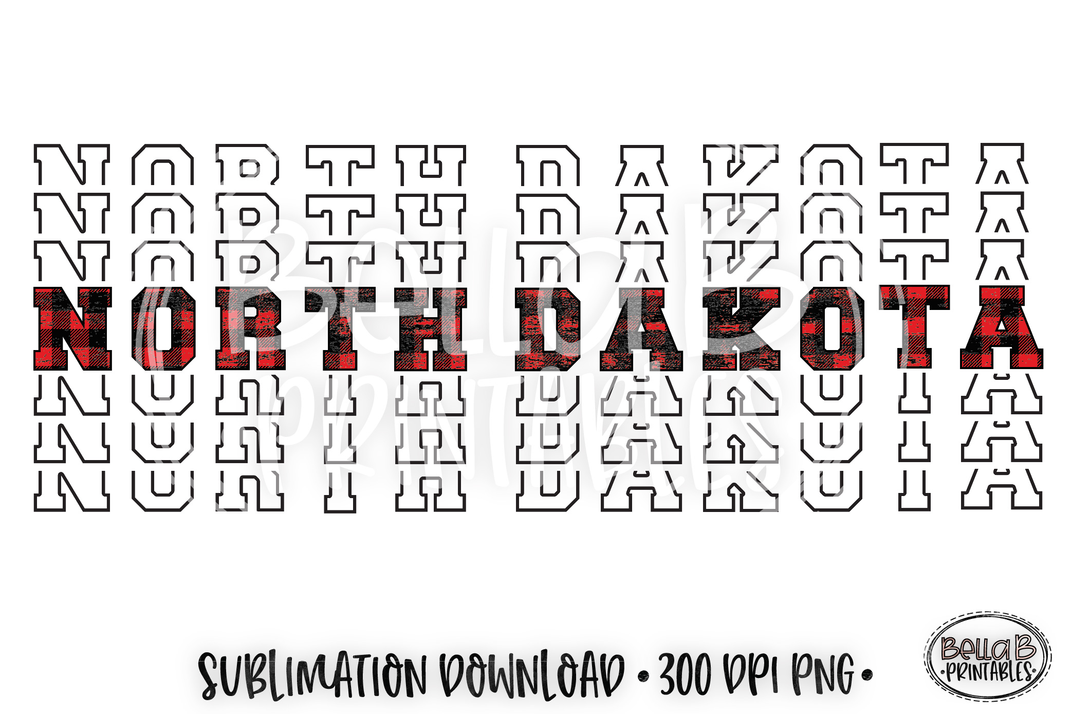 North Dakota Sublimation Design, Buffalo Plaid, Mirrored example image 1