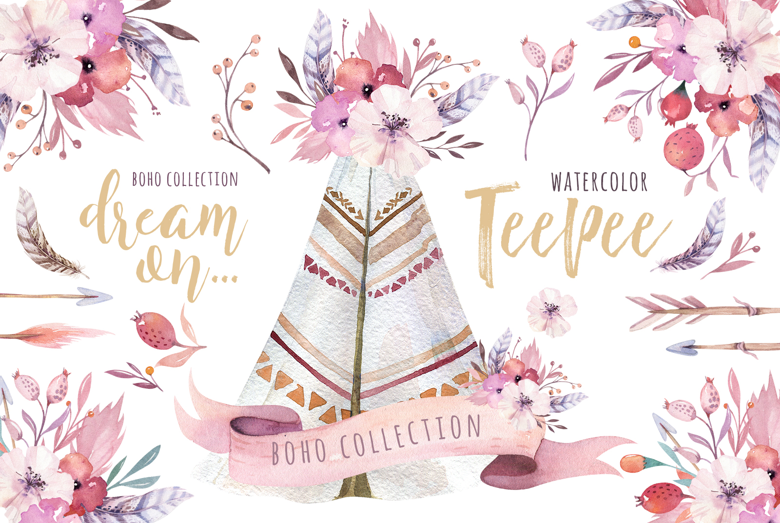 Watercolor teepee collection example image 1