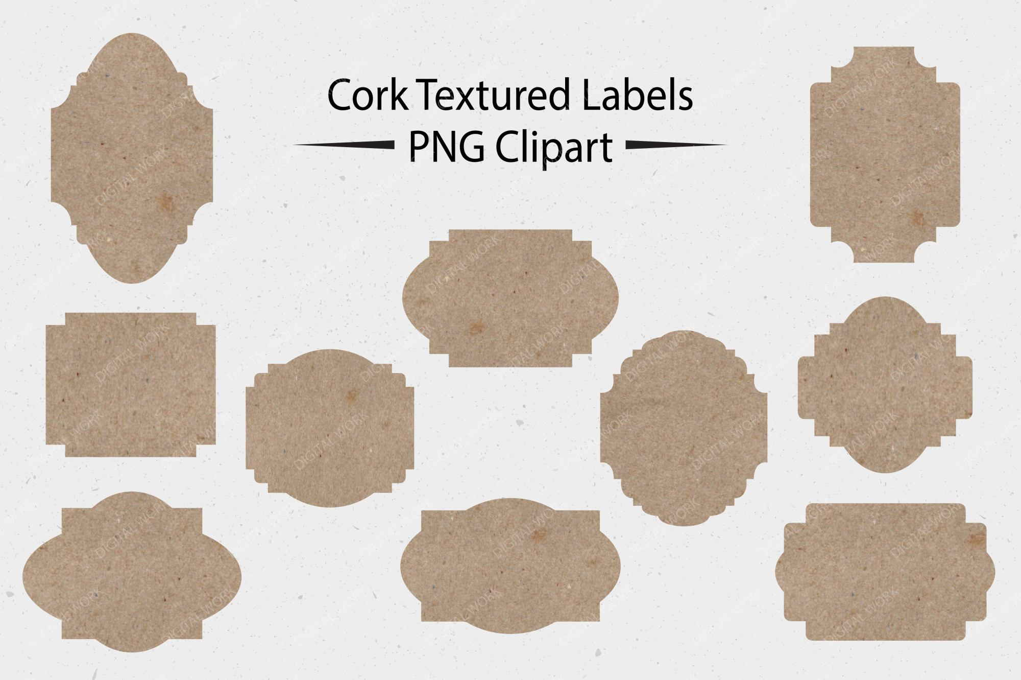 Cork Textured Labels - CLIPART example image 1