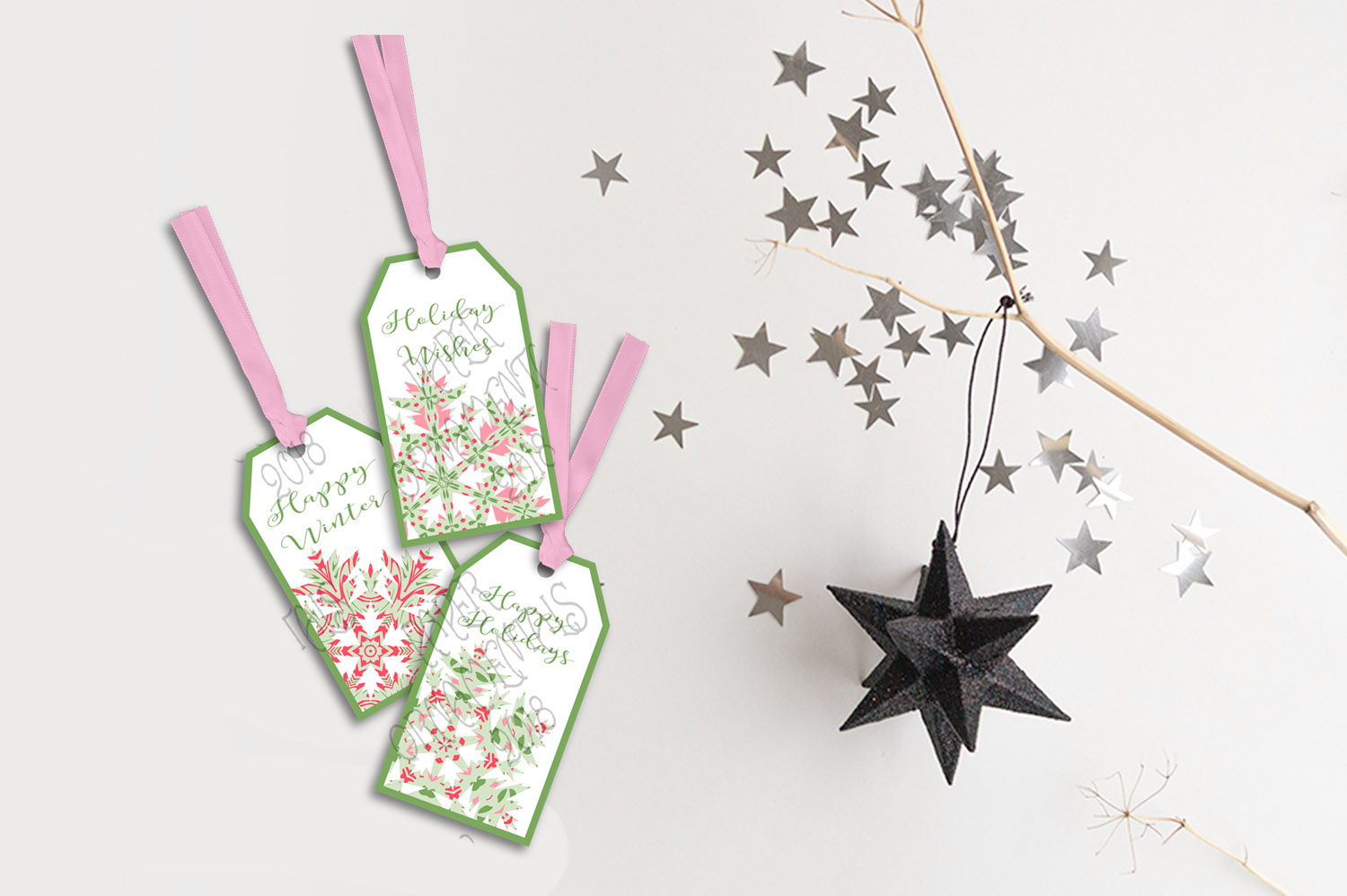 Printable Holiday Gift Tags, Snowflake Holiday Sayings Tags example image 2