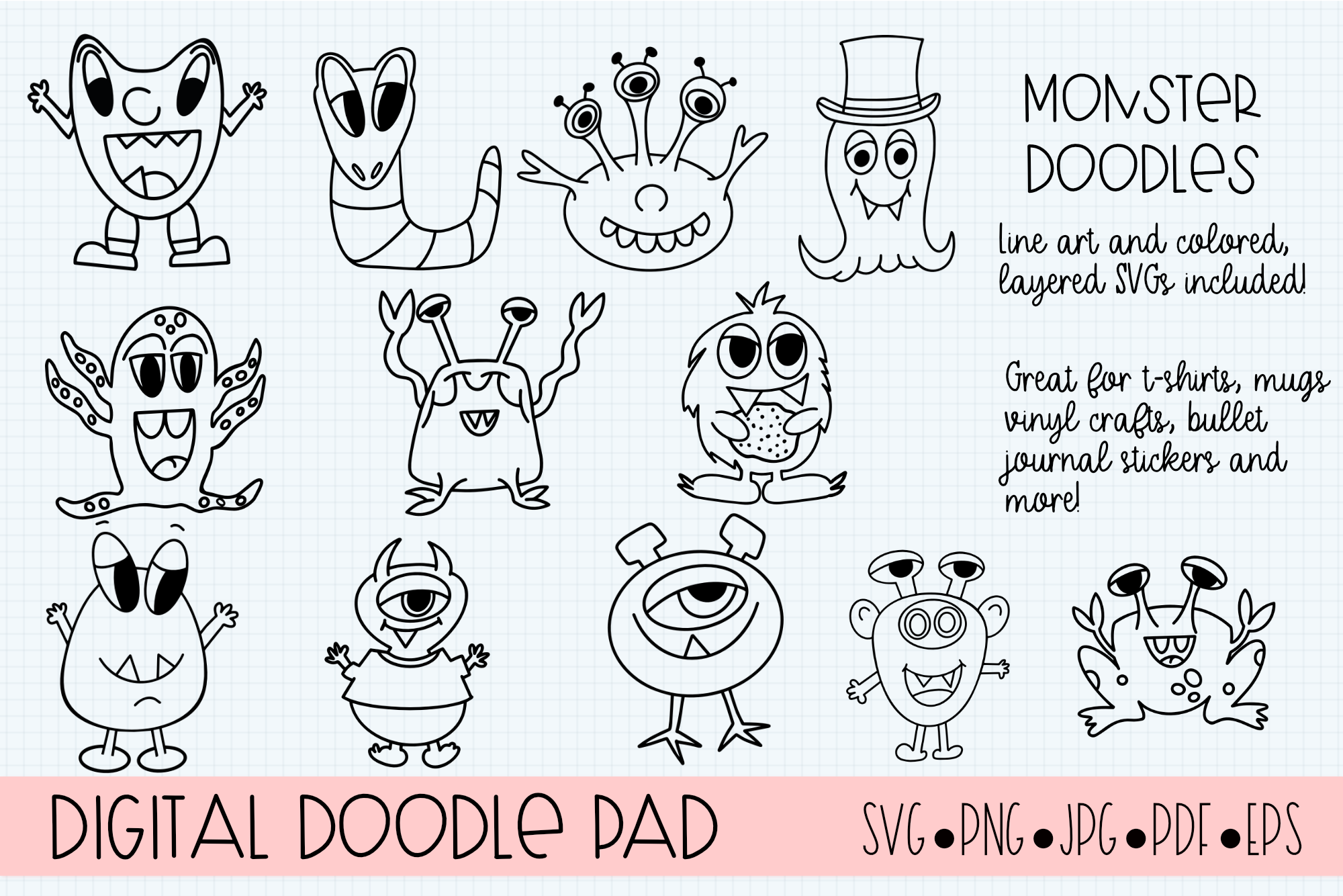 Doodle Monsters - Cricut & Silhouette Cut Files example image 5