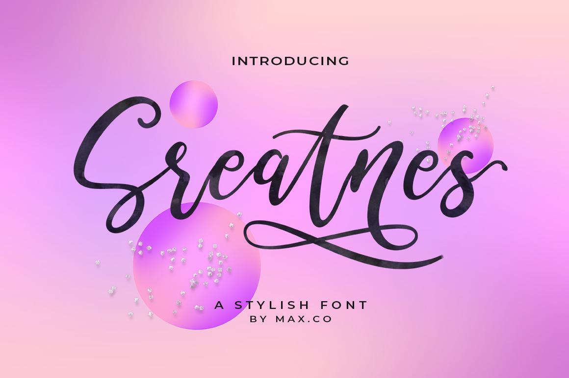 Sreatnes Script Font III Handwritten Style example image 2