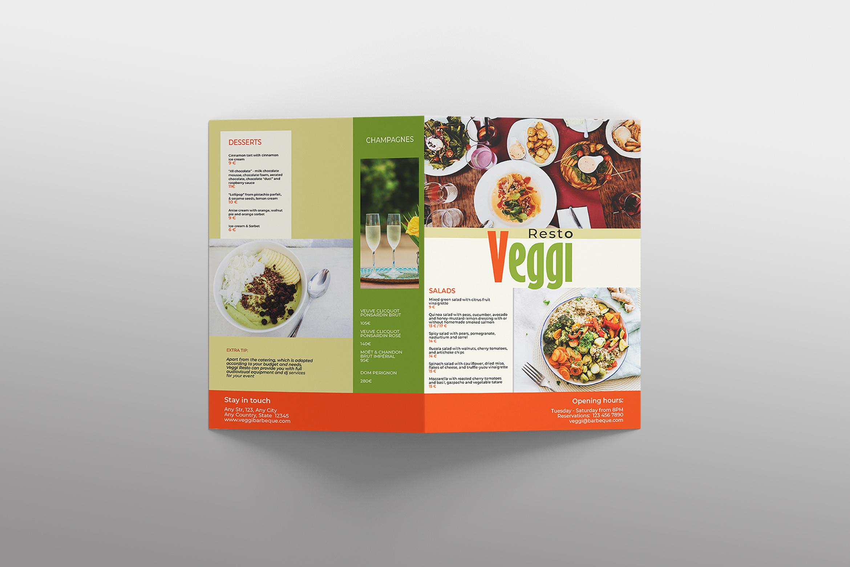 Vegan Menu Bifold Brochure A3 - AI/PSD Templates example image 8