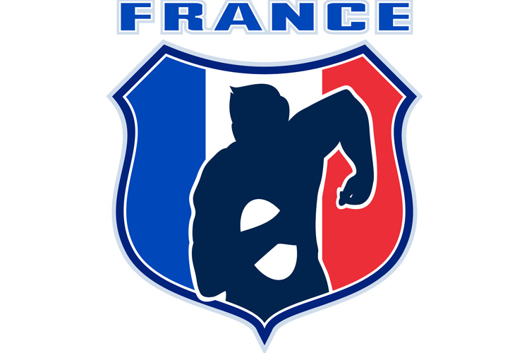 rugby player france flag shield example image 1