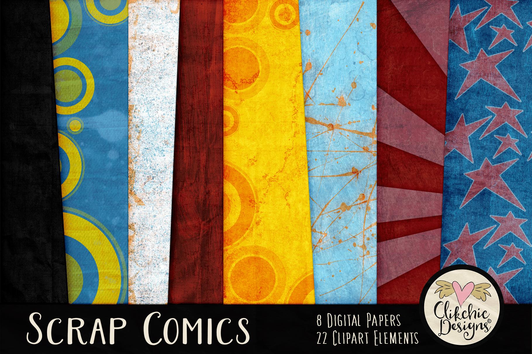 Digital Scrapbook Kit - Scrap Comics Super Hero Clipart Kit example image 2