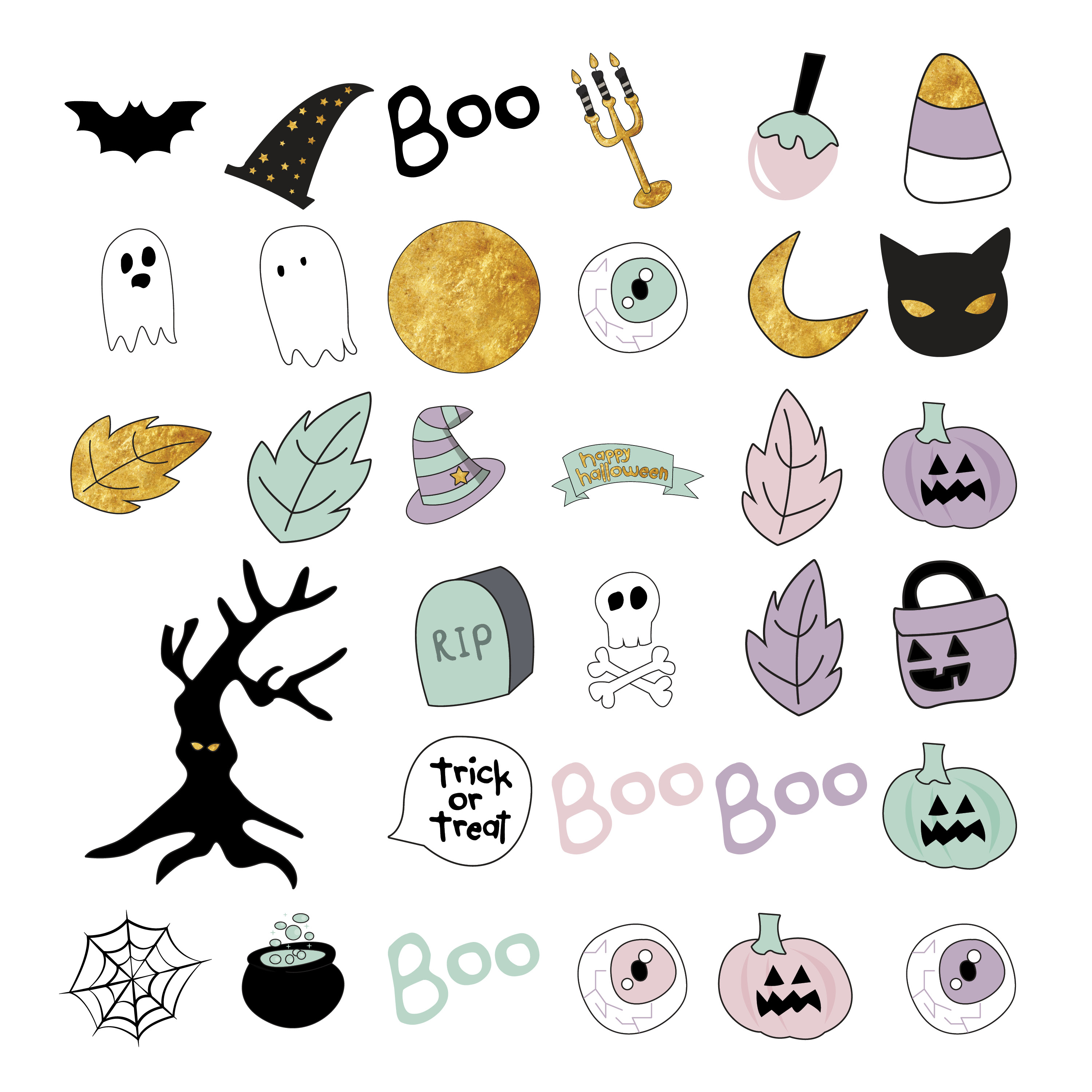 Hand Drawn Halloween Clipart in Pastel Colors example image 2