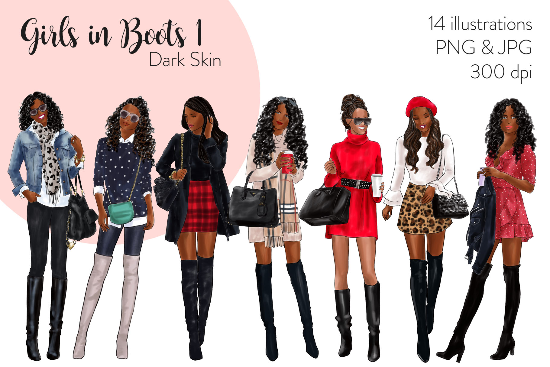 Fashion illustration clipart - Girls in Boots 1 - Dark Skin example image 1