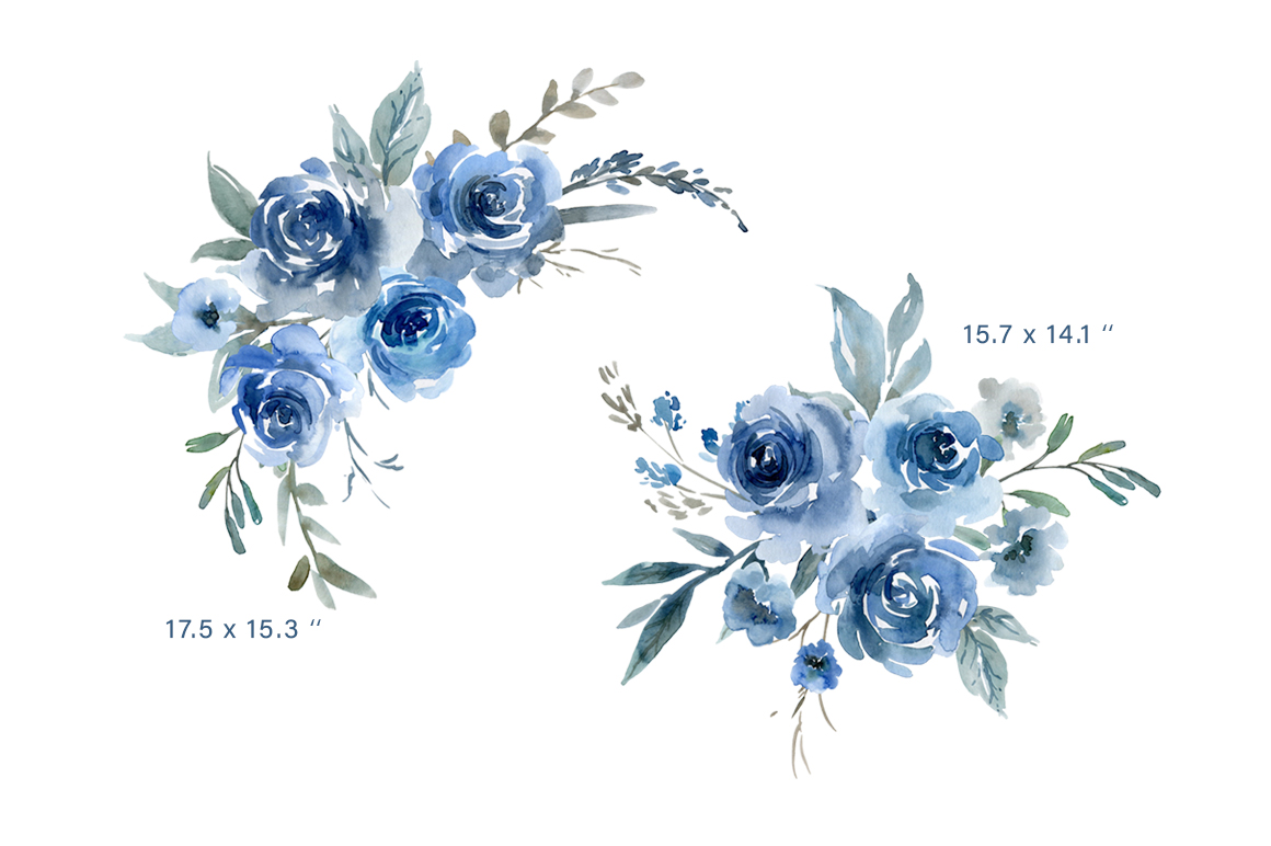 Blue Watercolor Flowers Roses Bouquets Frames Wreaths