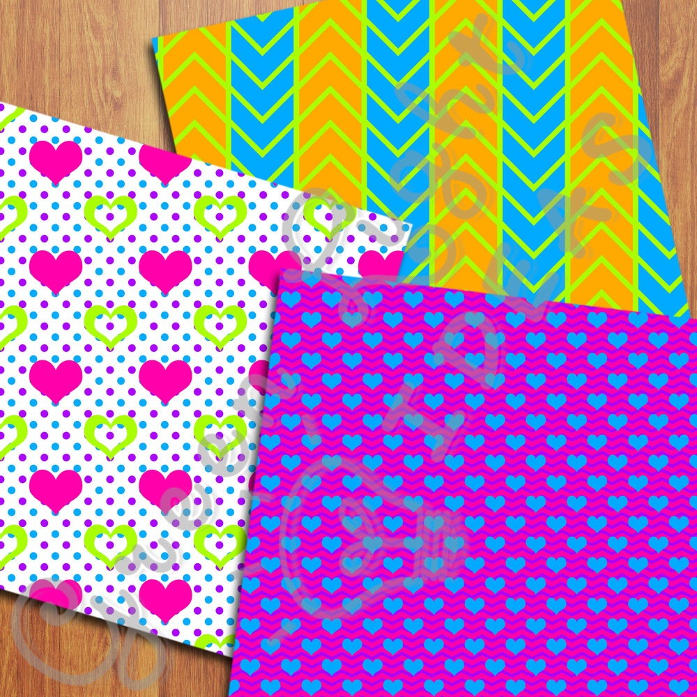 Bright Neon Digital Papers example image 4