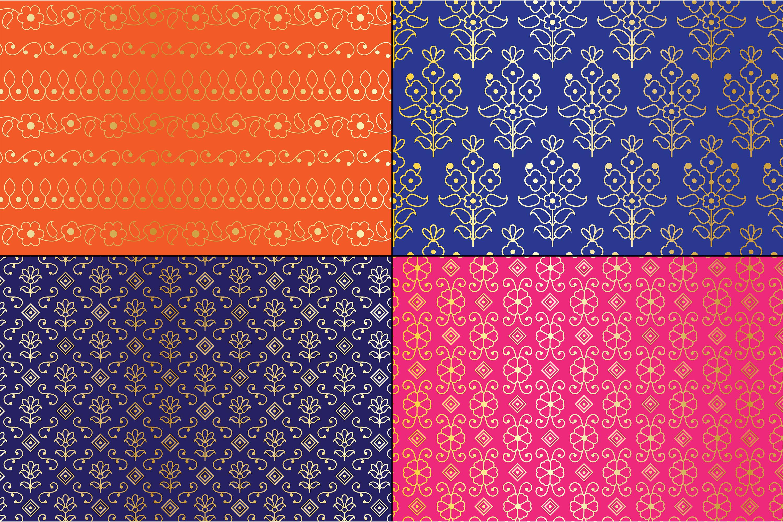 Gold Metallic Paisley Patterns example image 2