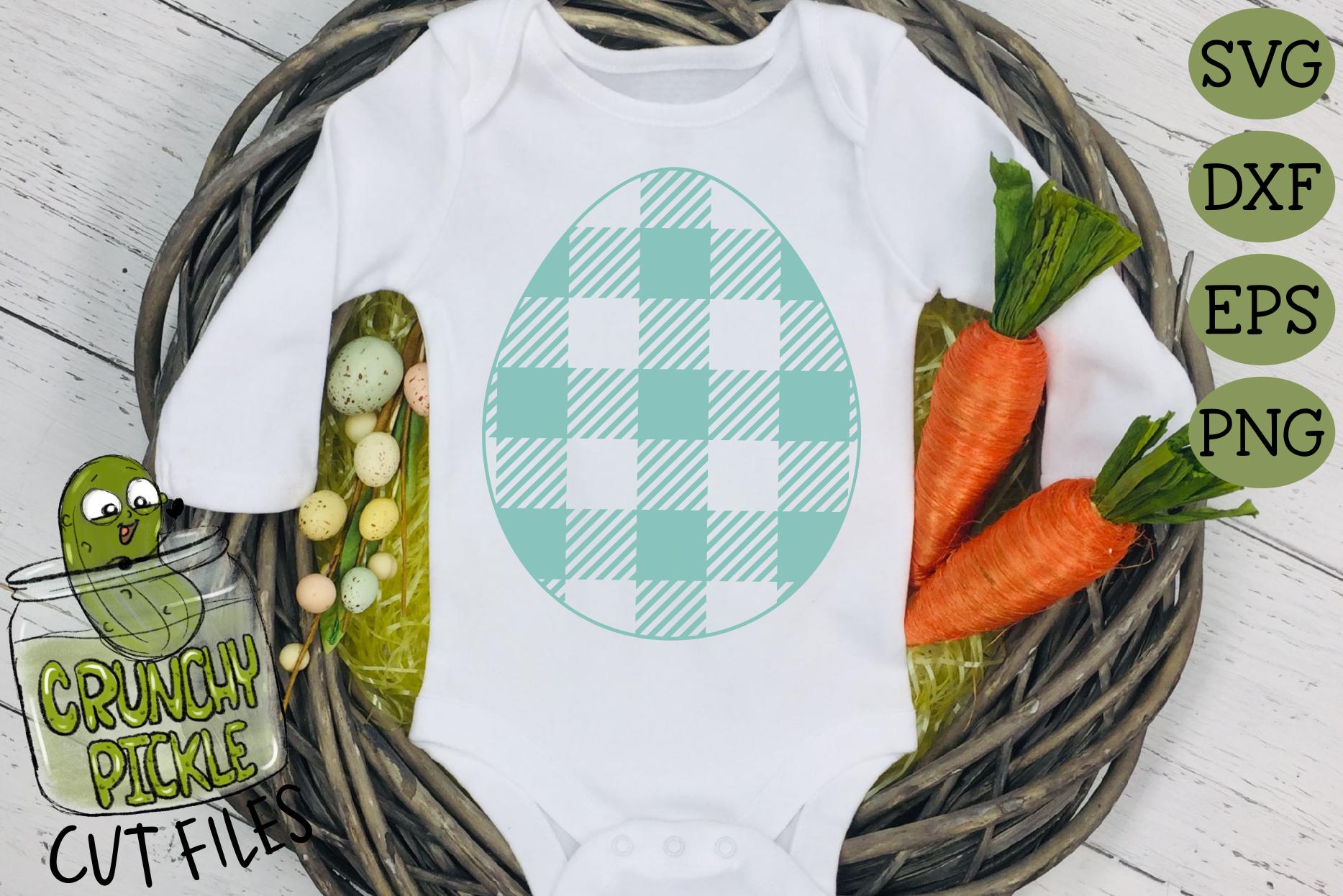 Plaid & Grunge Spring Easter Egg SVG Cut File example image 2