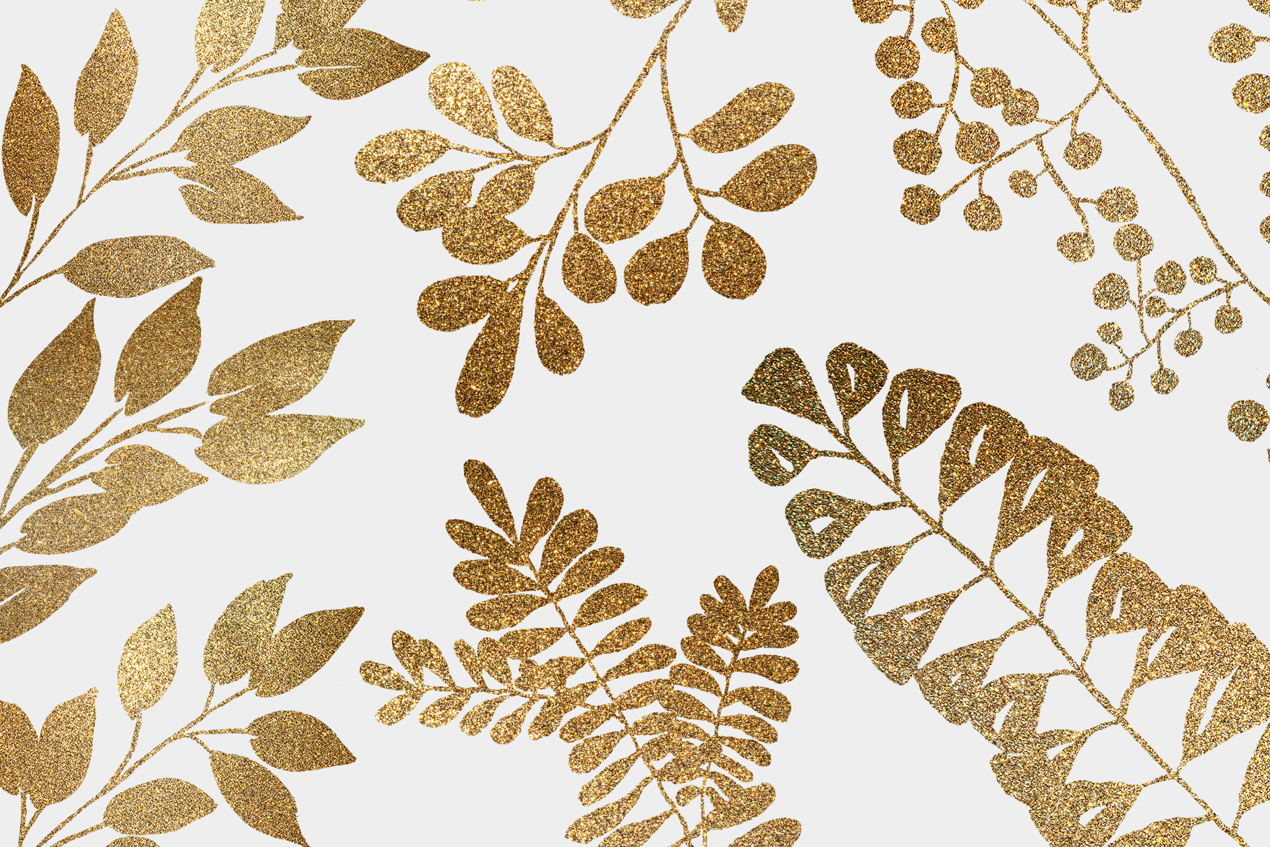 Gold leaves and wreaths, gold foil leaves clip art example image 2