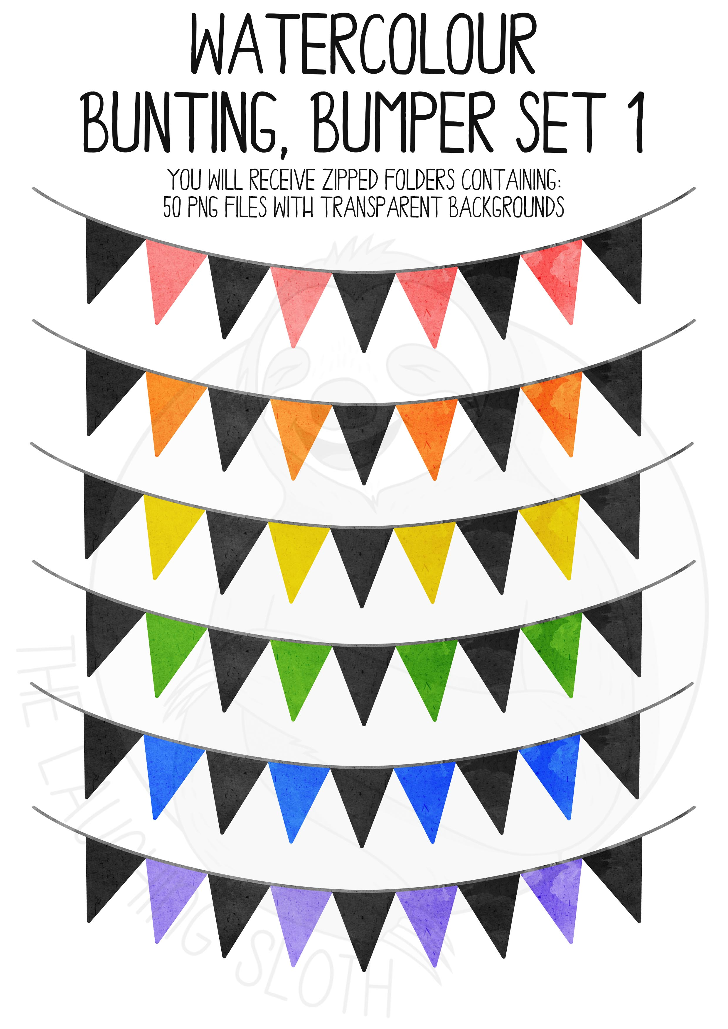 Watercolor Bunting Bumper Clipart Set example image 8