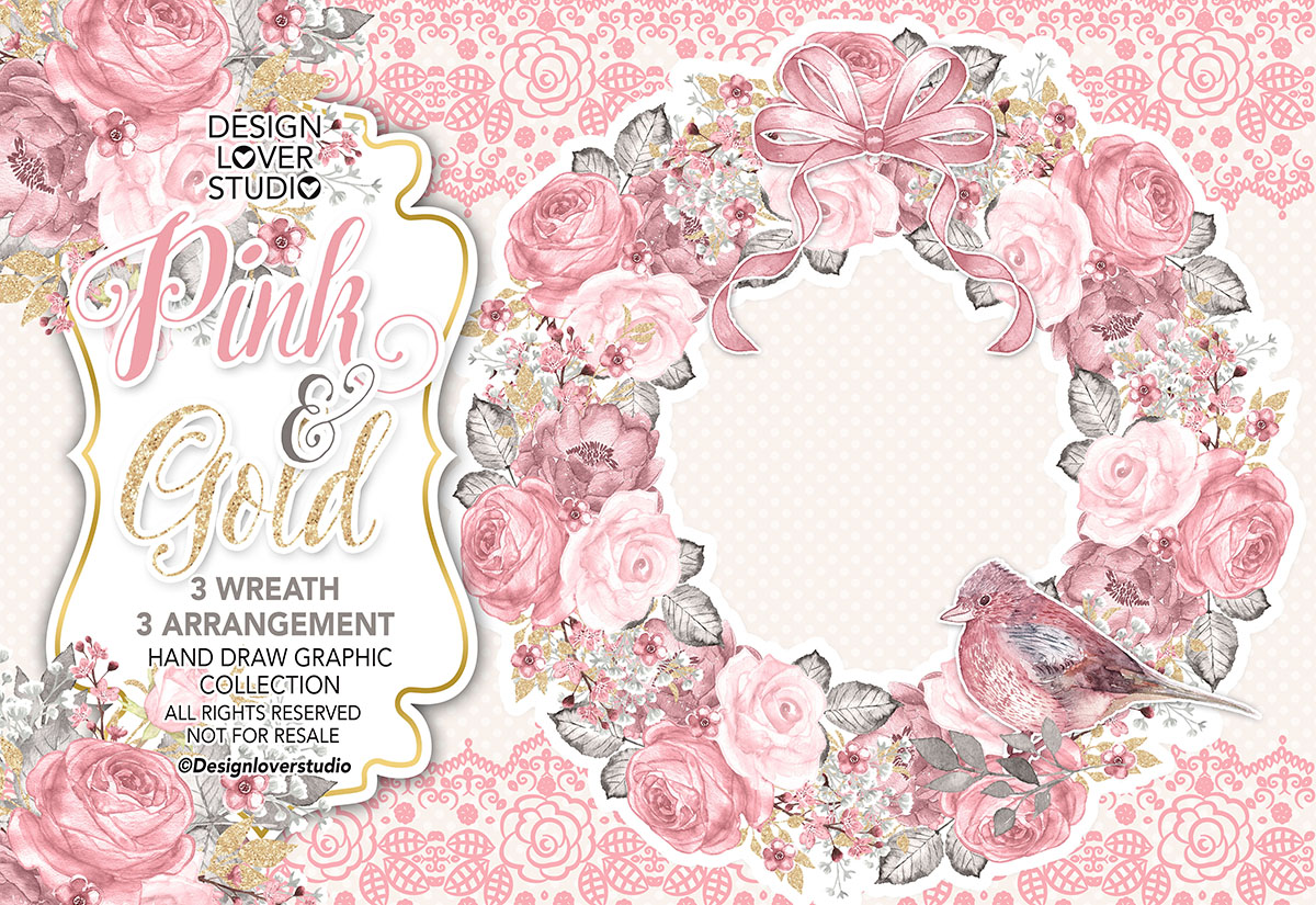 Watercolor PINK and GOLD wreath example image 1