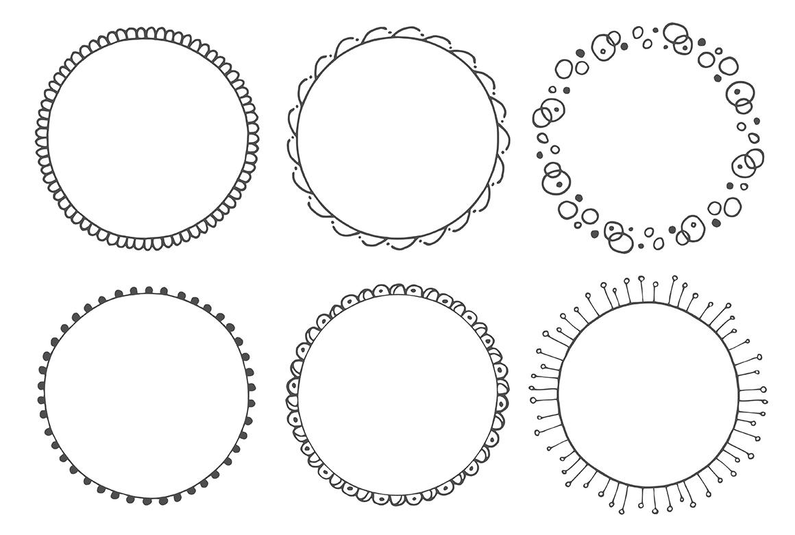 90 Hand Drawn Decorative Round Frames example image 8