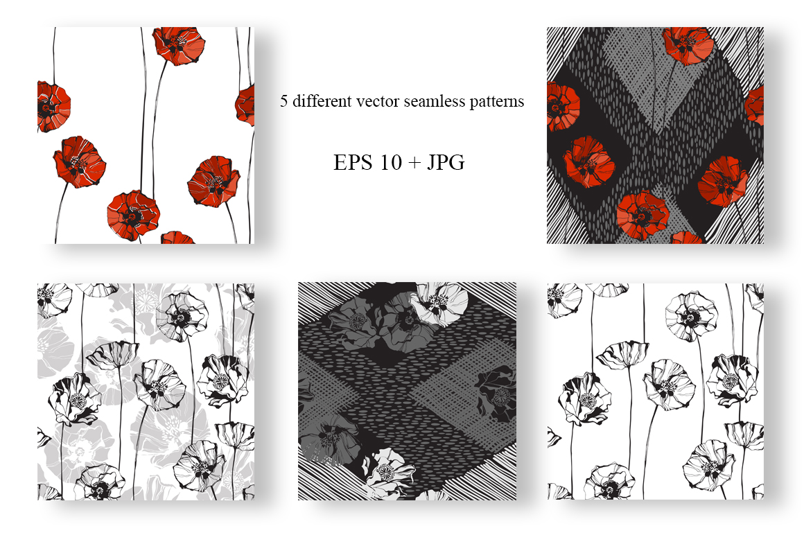 Poppy. Vector collection. example image 2