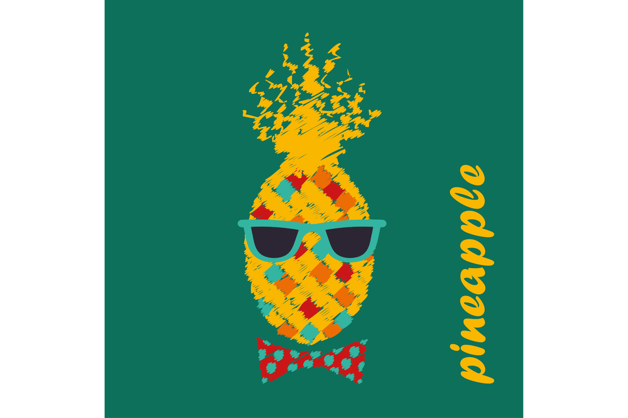 Poster Pineapple with glasses. Vector illustration. 1 of the jpeg file in resolution 4167*4167px and 1 file eps8 1000*1000px. example image 1