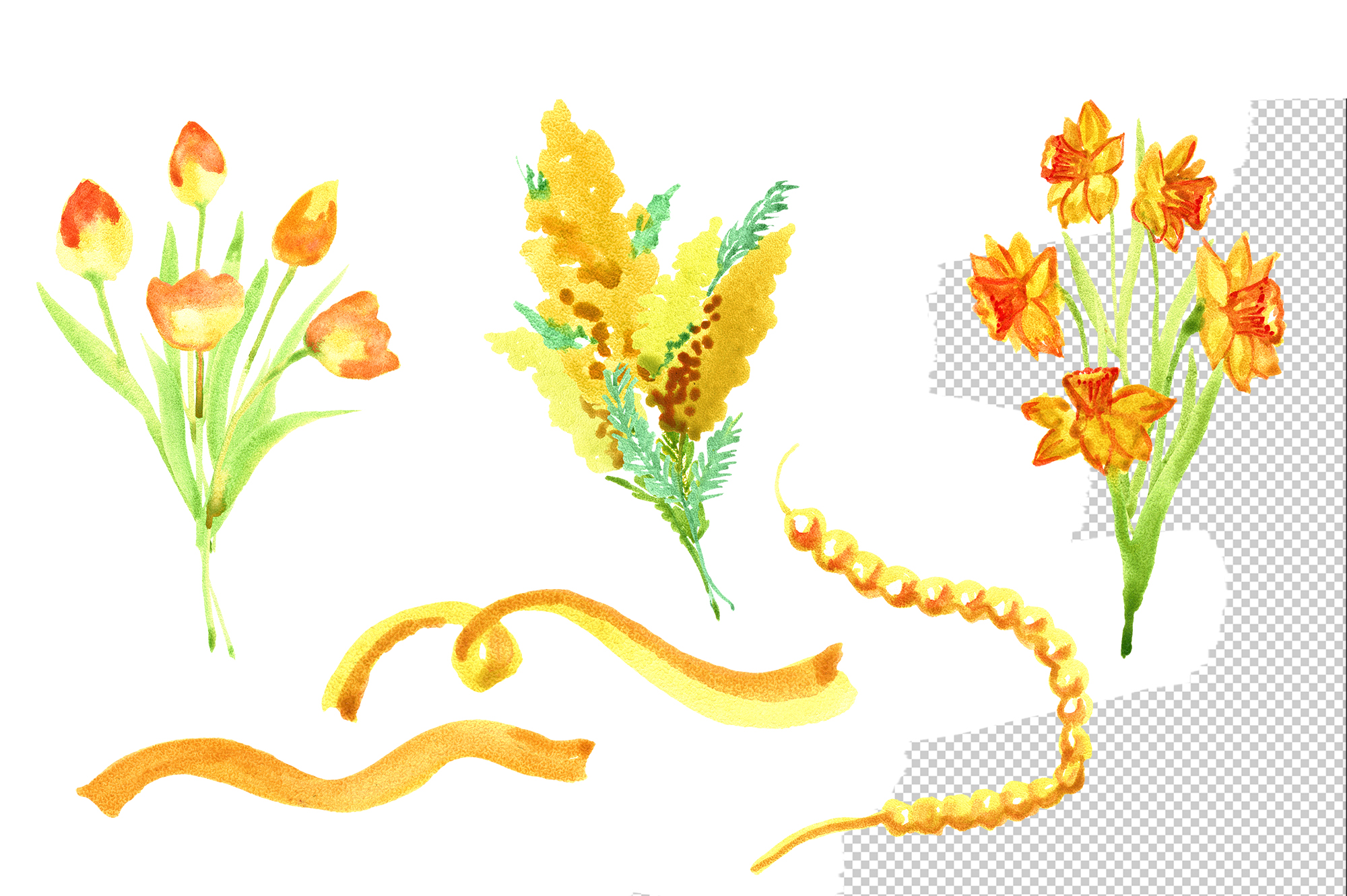 Watercolor yellow spring flowers example image 3