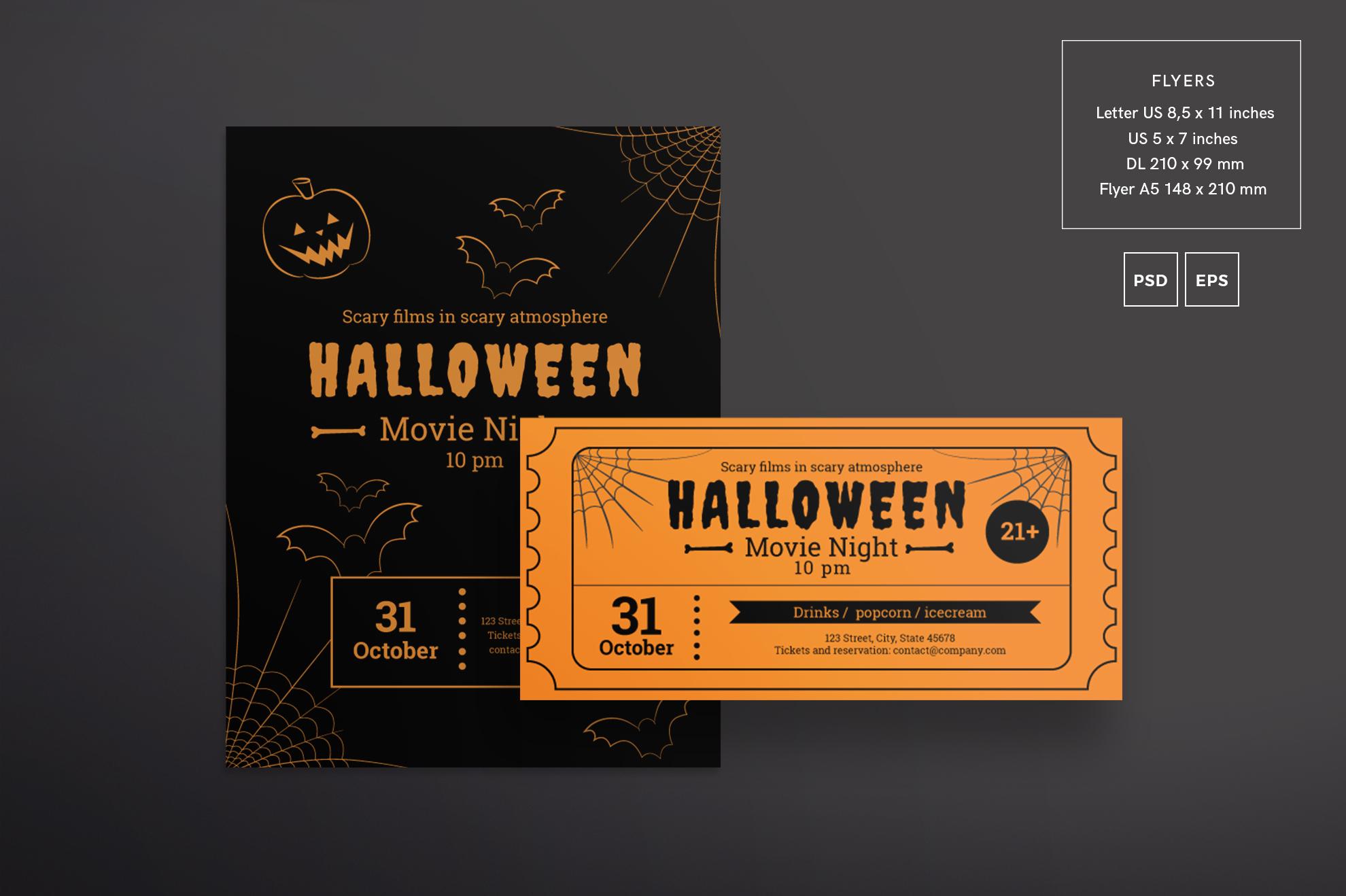 Halloween Movie Night Design Templates Bundle example image 2