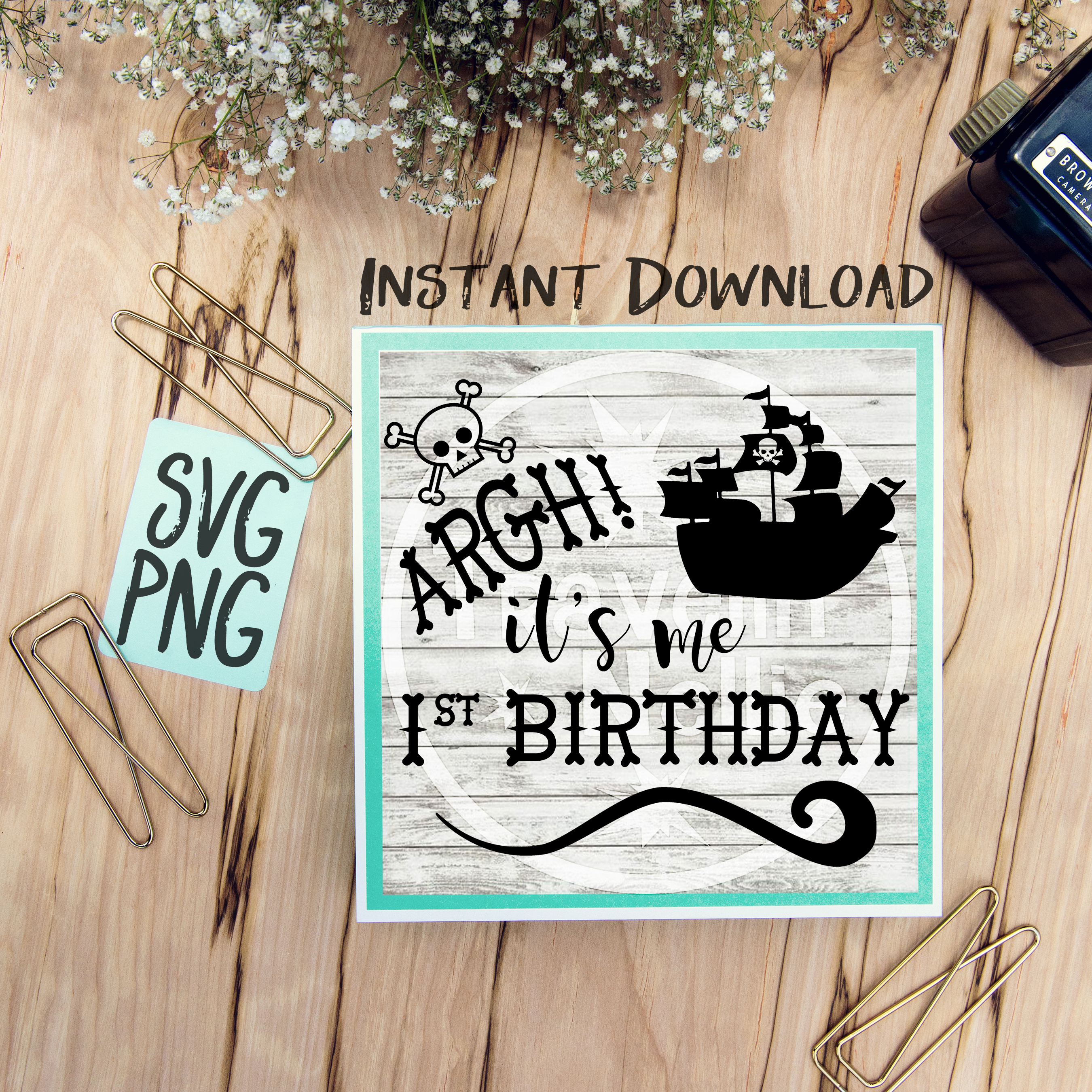 Pirate SVG, First Birthday SVG, 1st Birthday svg, Pirate Ship svg, Pirate Theme svg, First Birthday svg, Vector File, Svg for Cricut, Cut File example image 1