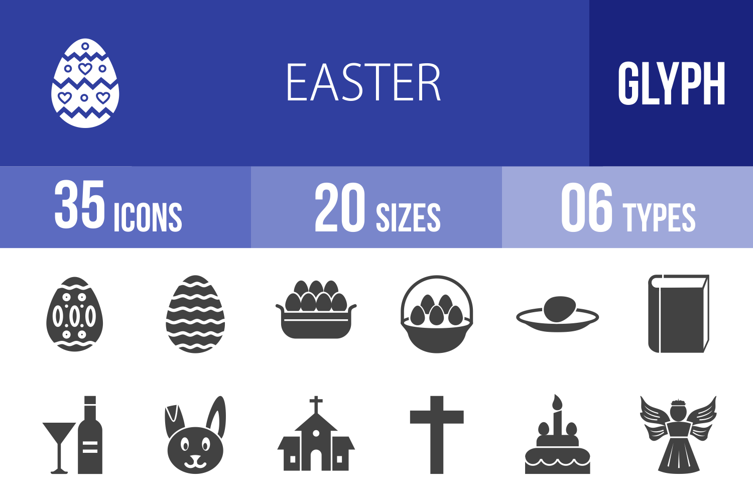 35 Easter Glyph Icons example image 1