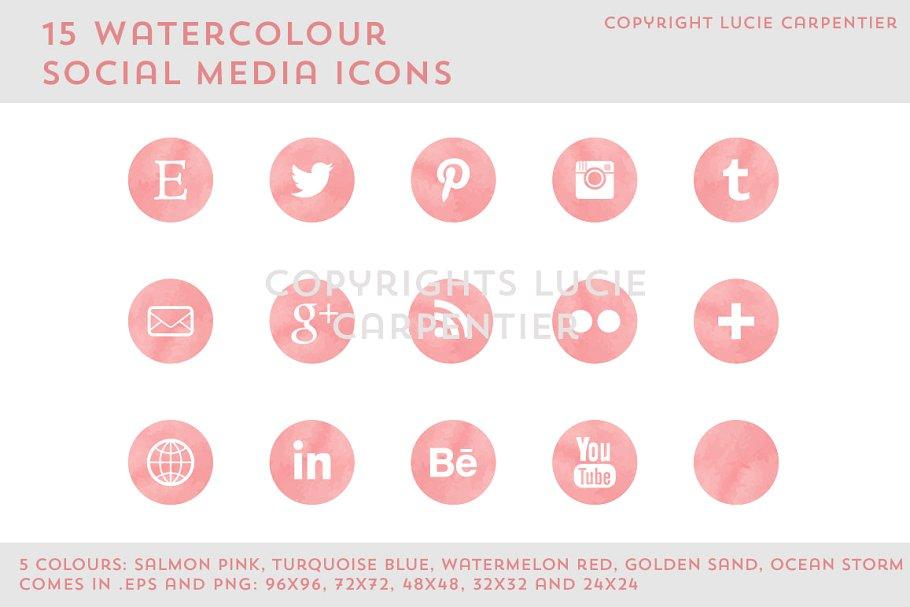 Watercolour social media icons example image 1