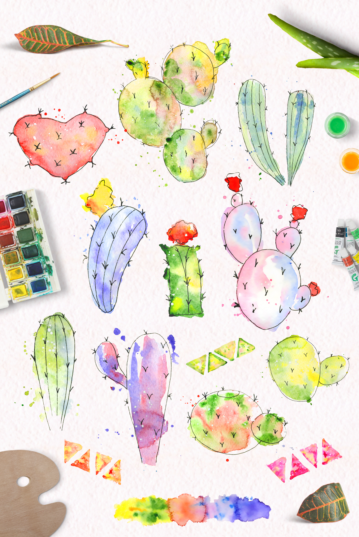 Boho Watercolor abstract Cactus Tropical clipart example image 11