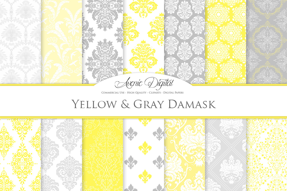 28 Yellow and Gray Damask Patterns - Seamless Digital Papers Bundle example image 1